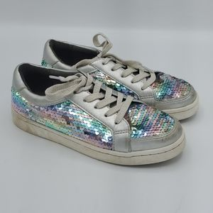 Kenneth Cole Silver 🌈 Rainbow Sequin Sneakers 1
